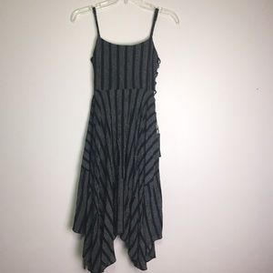 Lulu's Black Striped Strappy Rayon Dress Sz S